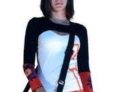 Hold for Andrea-Black long sleeve shrug with orange flower SALe 49