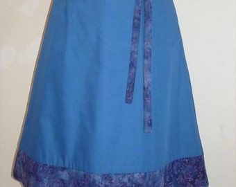 Blue skirt, with hand dyed accent fabric SALE
