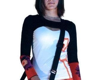 Black long sleeve shrug with orange flower SALe 49
