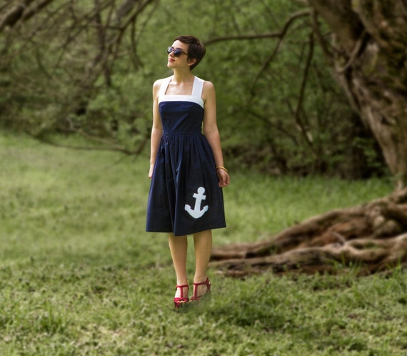 The Anchors Aweigh Navy Dress- XS, S, M, L