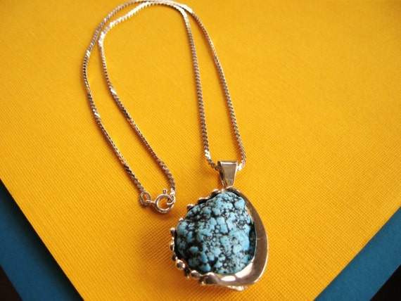 Vintage Big Chunk of Turquoise and Sterling Necklace Pendant