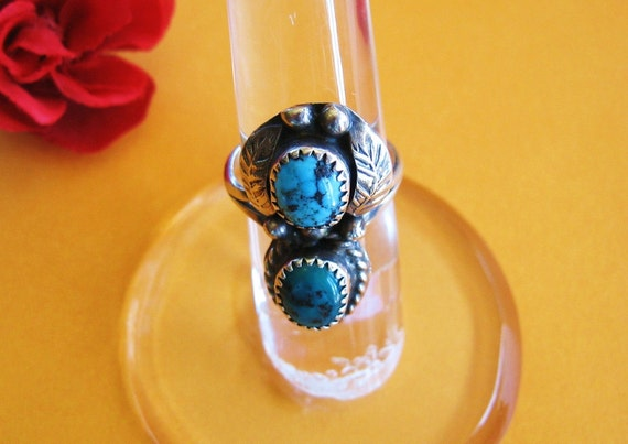 Vintage Turquoise Ring Navajo Sterling Silver Double Stone Blossom Leaves