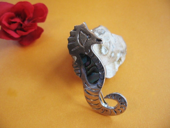 Vintage Sterling Silver Seahorse  Abalone Pin Brooch