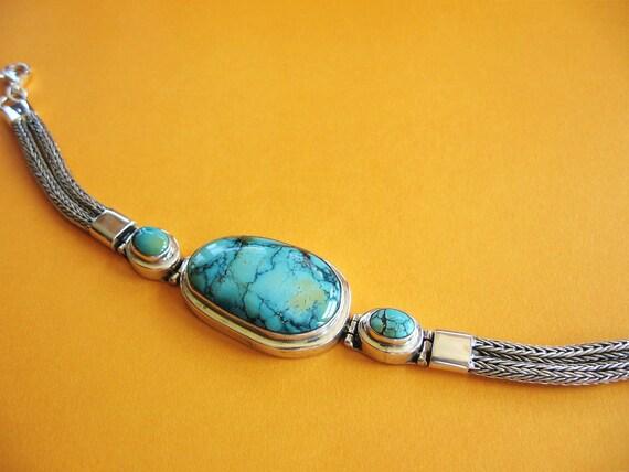 Vintage Turquoise Sterling Silver  Bracelet Green Genuine Natural Stones