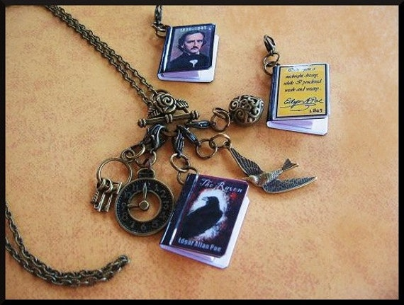 Miniature Books Charms Pendants Necklace The Raven