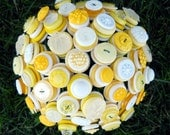 Yellow and White Bride Button Wedding Bouquet