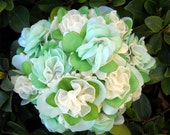 Ivory and Green Petal Ribbon Bouquet Centerpiece