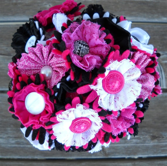 Hot Pink Black White Button Wedding Bouquet Satin and Lace