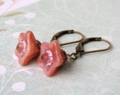 Virginia Flower Earrings. Vintage Peach Caramel Glass, Swarovski Crystals, Antiqued Brass