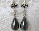 Grey Marie Antoinette Pearl Earrings Vintage Glass Bead Silver Fleur de Lis Post Earrings