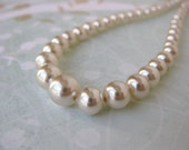Perfect Classic Pearls. Vintage Necklace, Ivory Glass Pearls, Silver Filigree Box Clasp