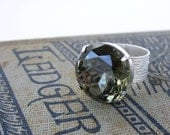 Black Diamond Vintage Rhinestone Cocktail Ring Silver Adjustable Old Hollywood Statement Ring