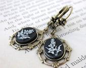 Vintage Flower Earrings Filigree Cameos Black and White Antiqued Brass Black Tie