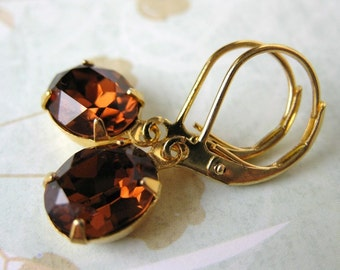 Topaz Vintage Rhinestone Earrings Swarovski Crystal Gold