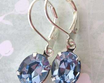 Periwinkle Vintage Rhinestone Earrings. Light Sapphire Swarovski Crystal, Silver
