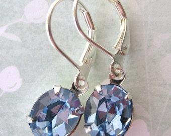 Periwinkle Vintage Rhinestone Earrings. Light Sapphire Swarovski Crystal, Silver