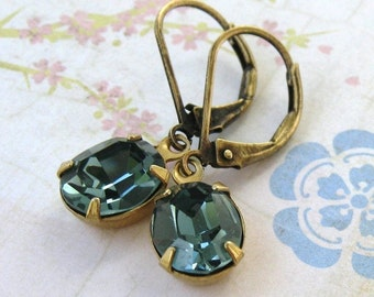 Vintage Rhinestone Earrings Swarovski Crystal Indian Sapphire Antiqued Brass