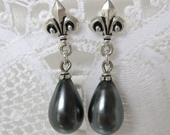 Grey Marie Antoinette Pearl Earrings Vintage Glass Bead Silver Fleur de Lis Post Earrings