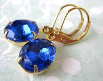 Sapphire Vintage Rhinestone Earrings Blue and Gold