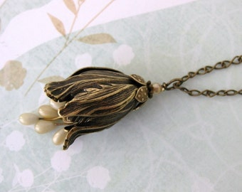 Tulip Flower Necklace.Vintage Pearls Ivory Antiqued Brass Pendant