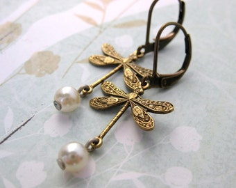Dragonfly Pearl Earrings. Vintage Glass Faux Pearls, Antiqued Brass