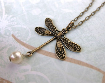 Vintage Charm Necklace Dragonfly Pearl Antiqued Brass