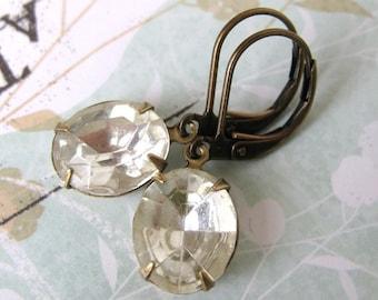 Vintage Rhinestone Earrings Crystal Antiqued Brass Oval Glass 1940s