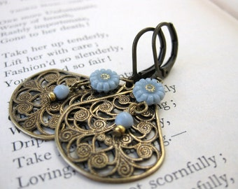 Vintage Flower Earrings Charm Grey Gold Brass Filigree Fall Antiqued Teardrops