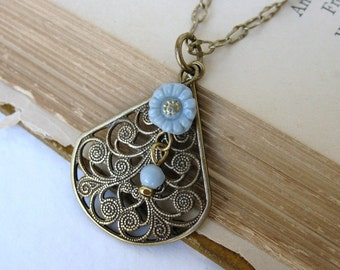 Vintage Flower Necklace. Antiqued Brass Charm Teardrop