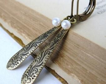 Vintage Pearl Earrings Flower Charm Antiqued Brass Dangle