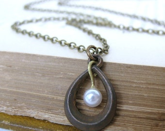 Vintage Pearl Necklace Antiqued Brass Teardrop Charm Pendant