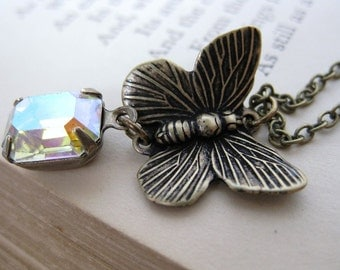 Butterfly Necklace Vintage Rhinestone Charm Antique Brass