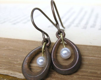 Vintage Pearl Earrings Antiqued Brass Teardrop Charms. Pearl Raindrops