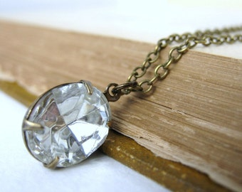 Vintage Rhinestone Necklace Crystal Jewel Antiqued Brass Chain