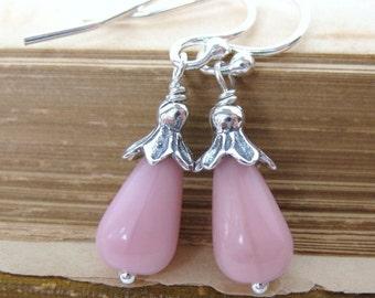 Vintage Rose Pink Teardrop Earrings, Antiqued Sterling Silver. Seattle Raindrops.