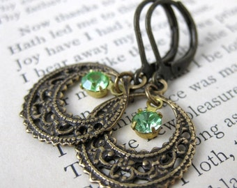 Filigree Jewel. Vintage Peridot Charm Earrings. Antiqued Brass, Swarovski Rhinestone