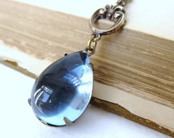 Vintage Rhinestone Necklace Sapphire Jewel Antiqued Brass Teardrop Estate Style