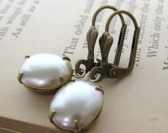 Vintage Rhinestone Pearl Earrings Antiqued Brass Pearl Drops