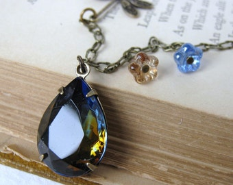 Blue Dragonfly Vintage Rhinestone Necklace Flower Sapphire Topaz Jewel Antiqued Brass