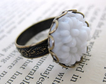 Flower Ring Vintage White Glass Filigree Lace Cabochon Antiqued Brass Adjustable