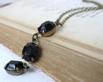 Vintage Rhinestone Necklace Black Glass Oval Brass Antiqued Triple Jet