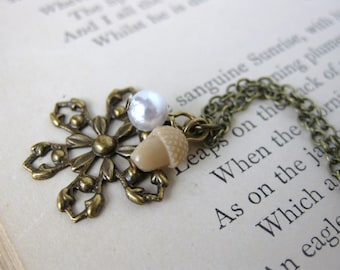 Vintage Charm Necklace Pearl Acorn Snowflake Antiqued Brass. First Snow