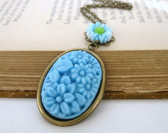 Vintage Flower Necklace Pendant Sky Blue Antiqued Brass Filigree