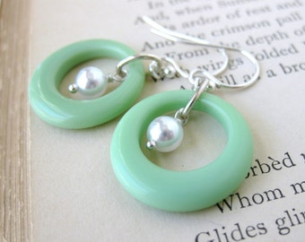 Vintage Glass Bead Earrings Sterling Silver Glass Pearl Mint Green Rings. Groovy