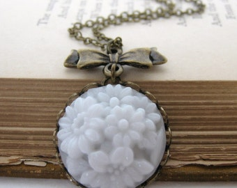 Vintage Flower Necklace White Glass Antiqued Brass Bow Filigree Pendant Charm