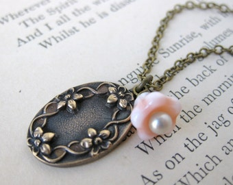 Vintage Charm Necklace Peach Pearl Antiqued Brass Flowers