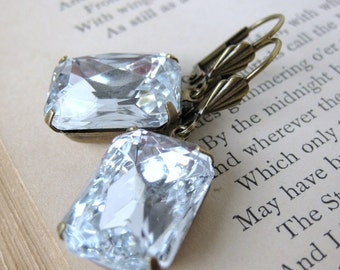 Vintage Rhinestone Earrings Crystal Jewel Emerald Cut Antiqued Brass
