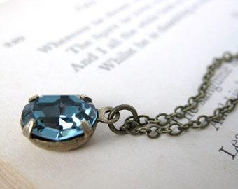 Vintage Swarovski Rhinestone Necklace Sapphire Crystal Jewel Pendant Antiqued Brass