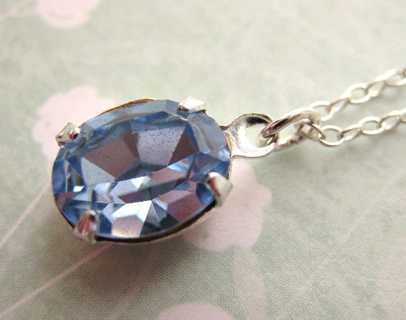 Vintage Rhinestone Necklace Periwinkle Blue Crystal Estate Style, Sterling Silver