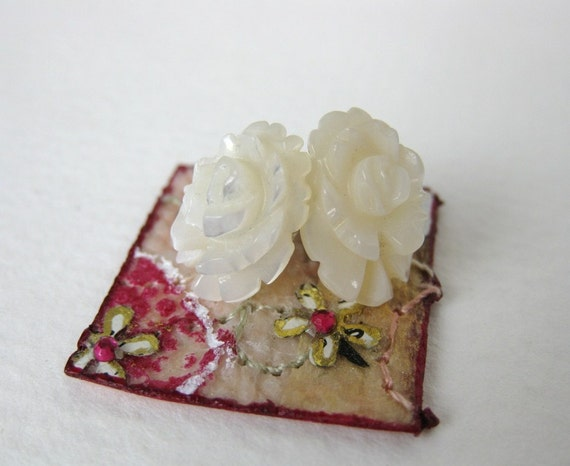 Vintage Earrings Mother of Pearl Post Ivory Rose Sterling Silver Carved Studs